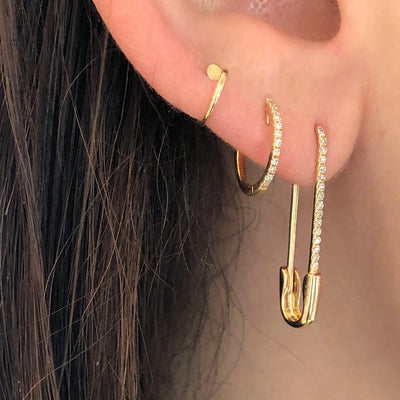 THE NANCY DIAMOND SAFETY PIN EARRING