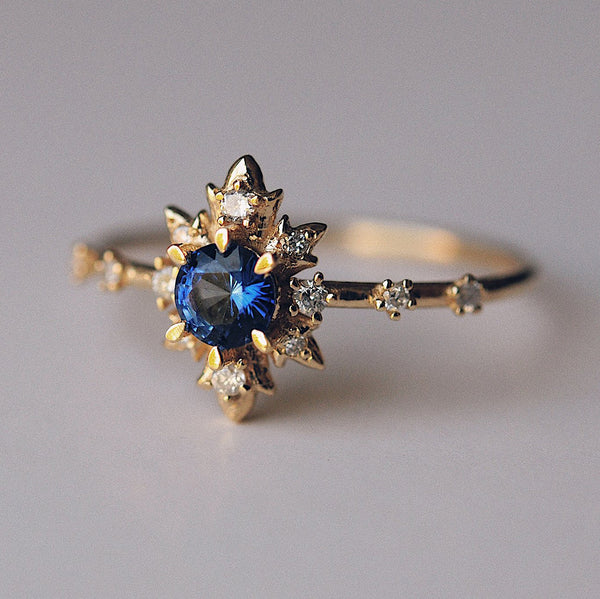Sofia Zakia Sapphire and Diamond Alternative Engagement Wedding Ring