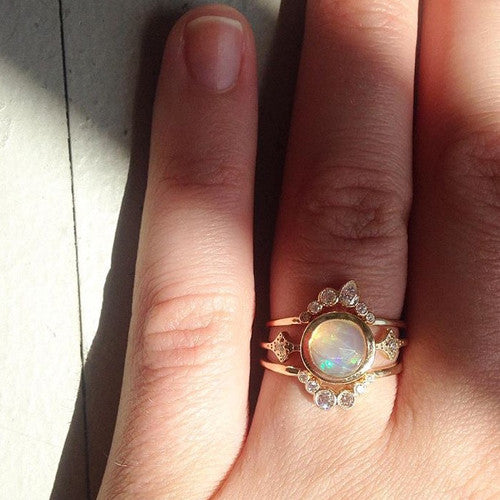 Large Bezel Set Opal Ring with Diamond Side Stones
