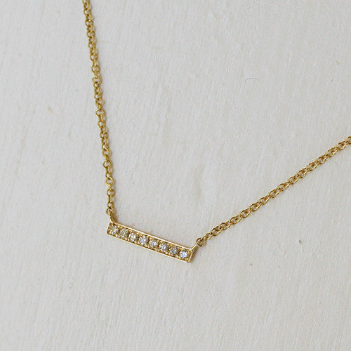 GOLD BAR NECKLACE SMALL - katie diamond jewelry