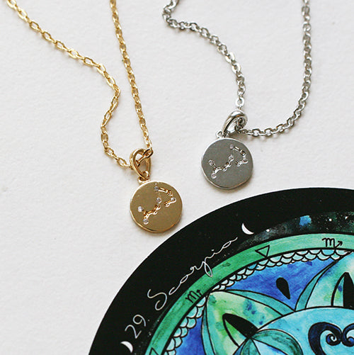 constellation by gold scorpio silver talisman murutalisman necklace original muru product rose or