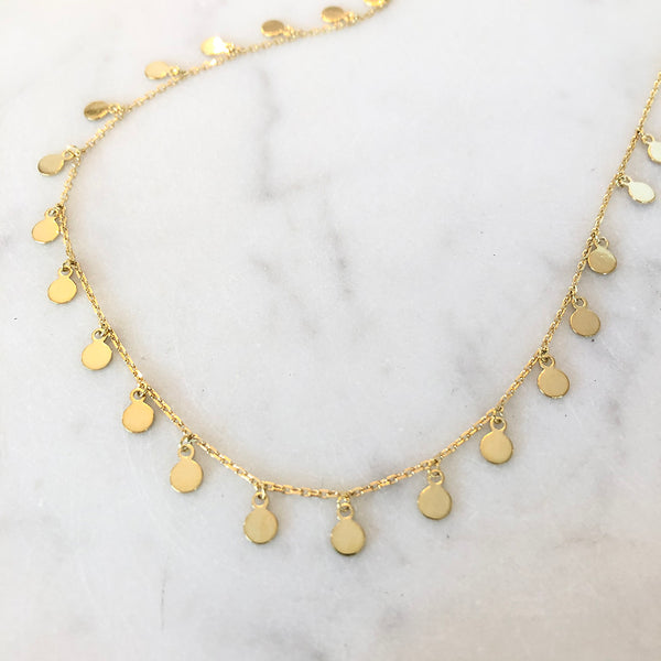 GOLD SEQUIN STATION NECKLACE
