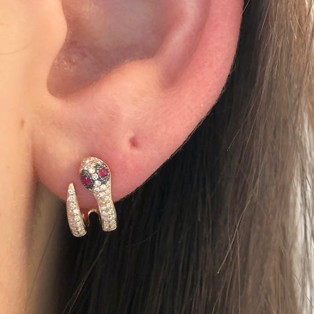MULTICOLOR DIAMOND HUGGIE HOOP EARRINGS