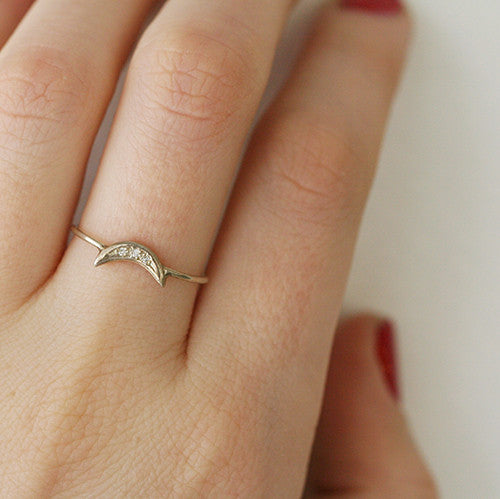 SILVER CRESCENT RING WITH DIAMONDS