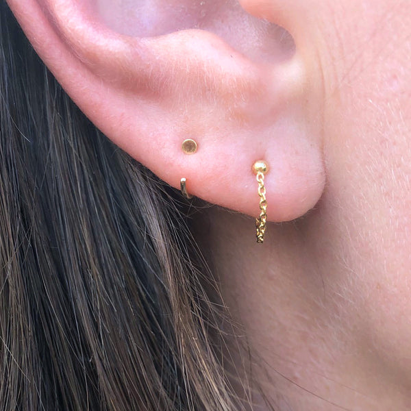 Single Chain Front to Back Gold Earrings