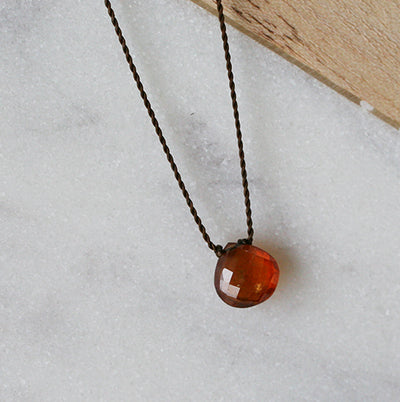 SPESSARTITE GARNET ZEN GEM NECKLACE