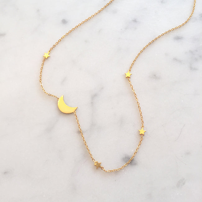 Star and Moon Station Necklace