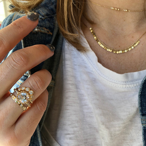 Layered Gold Necklaces and Rings