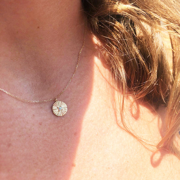 SUN BEAM OPAL MEDALLION NECKLACE