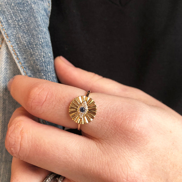 SUNBURST EVIL EYE RING