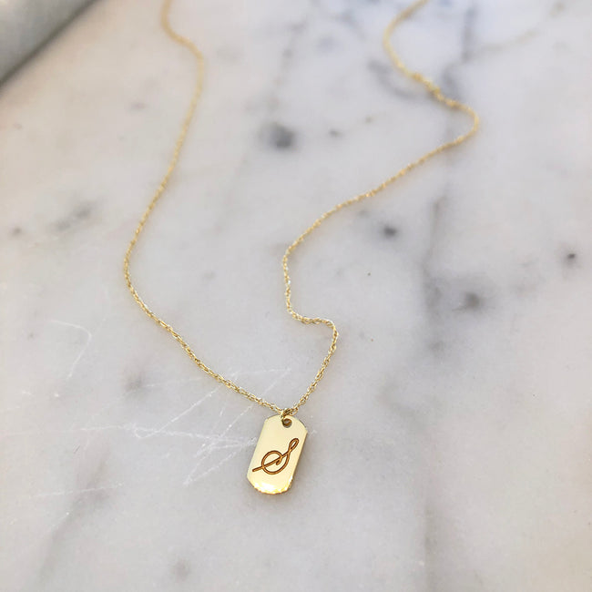Tiny Engraved Tag Necklace