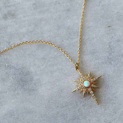OPAL STARBURST CHARM NECKLACE