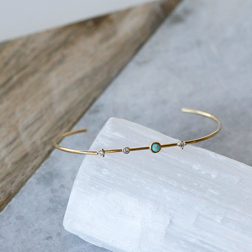 GOLD OPEN CUFF BRACELET WITH CLEAR CZ & OPAL