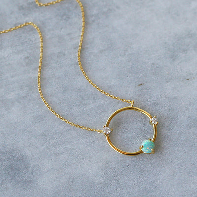 BLUE OPAL OPEN CIRCLE NECKLACE