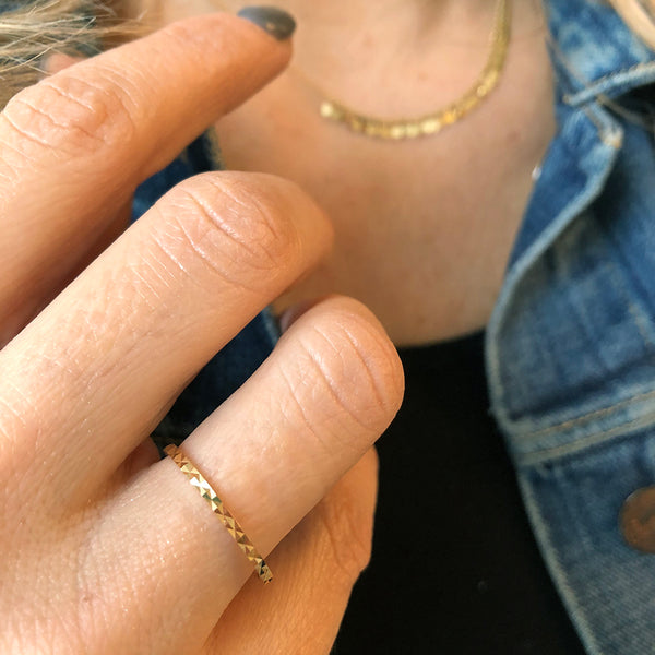 Gold Textured Hammered Stacking Ring