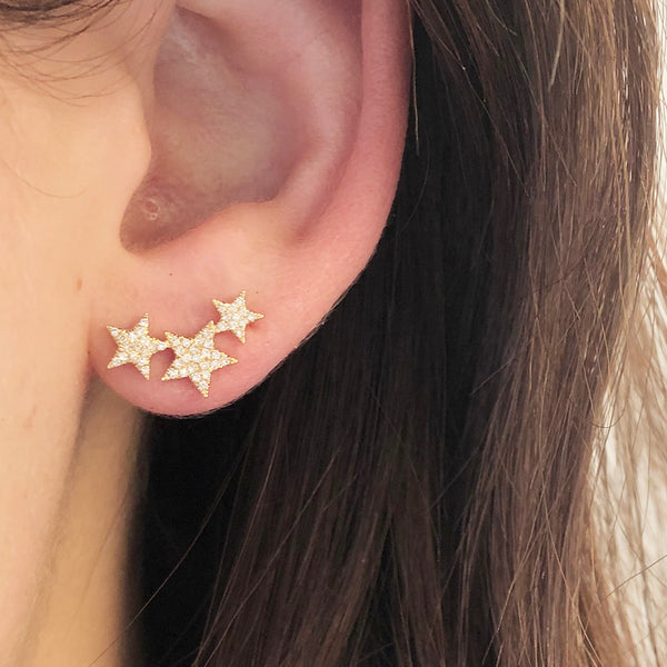 MAKE A WISH THREE STAR STUD EARRINGS
