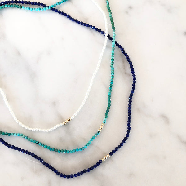 Pearl, Turquoise & Lapis Beaded Necklaces