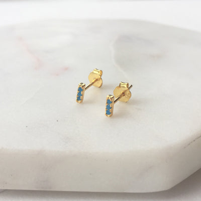 TINIEST TURQUOISE BAR STUDS