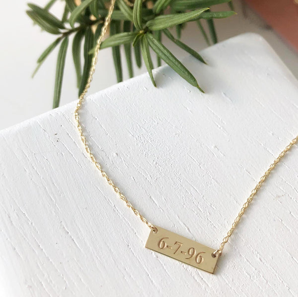 Tiny Bar Necklace Engraved with a Date