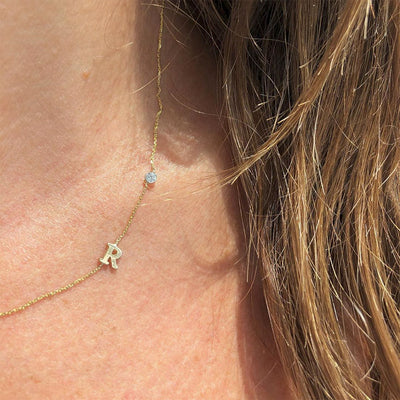 Tiny R Initial Necklace with Bezel Set Diamond