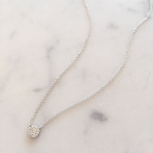 TINY DIAMOND DISC NECKLACE