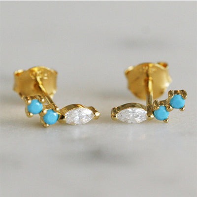 TURQUOISE & MARQUISE CZ STUDS