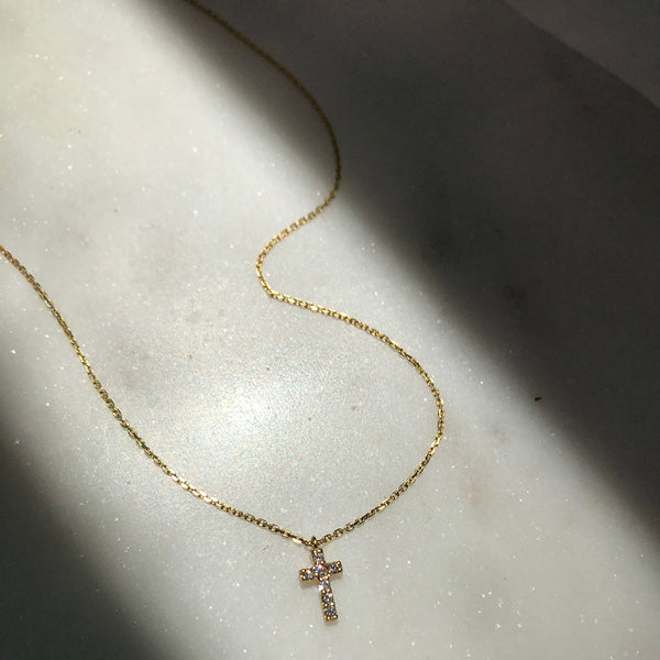 TINIEST DIAMOND CROSS NECKLACE