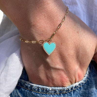 Paperclip Bracelet with Tiffany Blue Turquoise and Pave Diamond Heart Charm