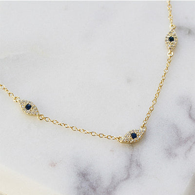 TRIPLE EVIL EYE STATION NECKLACE