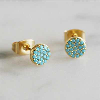 TURQUOISE DISC STUDS