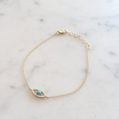 DIAMOND & TURQUOISE EYE BRACELET
