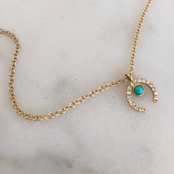 ARTEMIS TURQUOISE & DIAMOND ARC NECKLACE