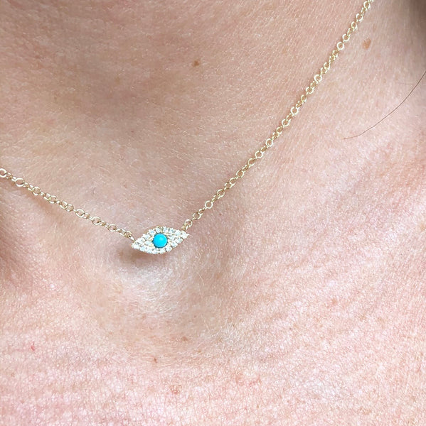 OLYMPIA DIAMOND & TURQUOISE EYE OF PROTECTION NECKLACE