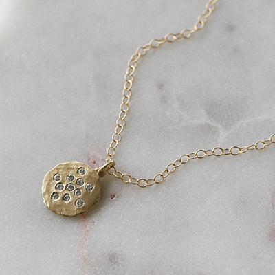 DISC WITH DIAMOND CLUSTER NECKLACE