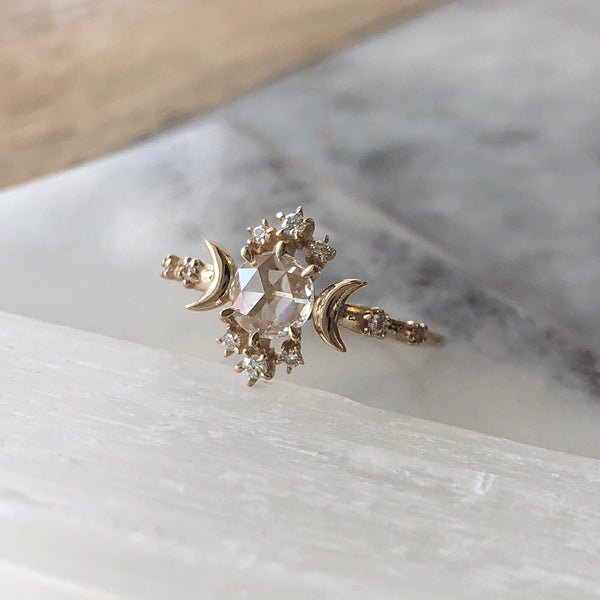 ROSE CUT DIAMOND WANDERING STAR RING