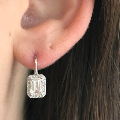 Emerald Cut White Topaz Earrings with Diamond Halo