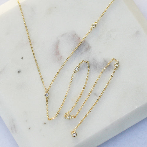 Y-NECKLACE WITH CZ STONES