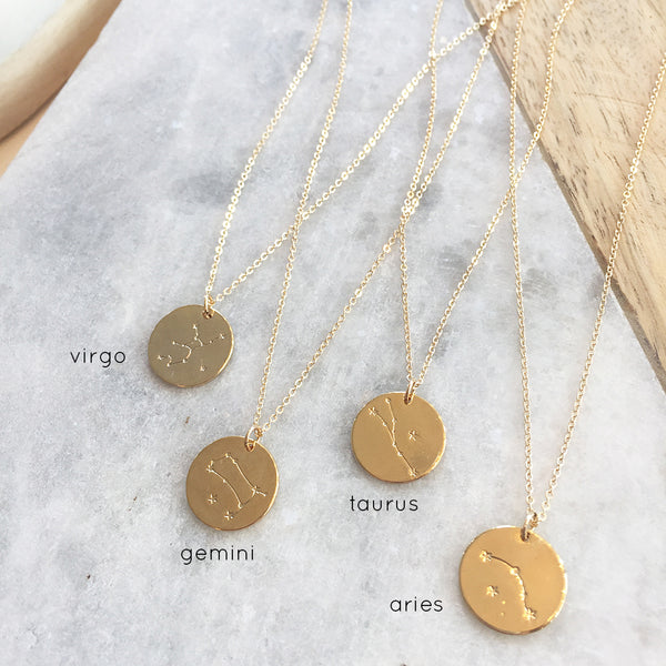 ZODIAC CONSTELLATION DISC NECKLACE