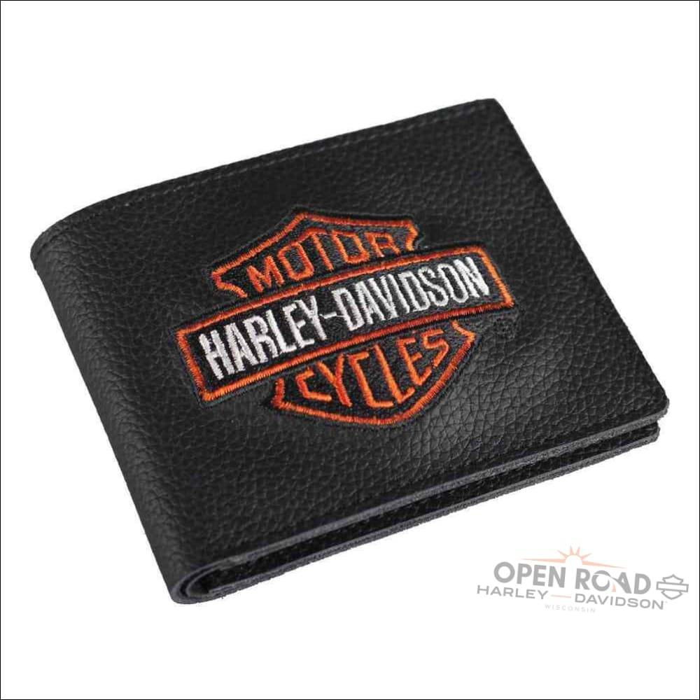 H-D® Men's Embroidered Bar & Shield Billfold Wallet- XML4336-ORGBLK - Wallet