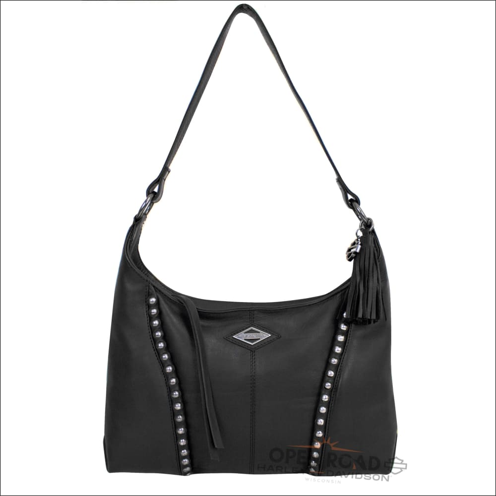 Harley-Davidson® Womens Ball & Chain B&S Hobo Black Leather Purse - BC6518L-BLACK - Purse