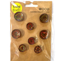 Wooden Buttons w/Stitch 8pc