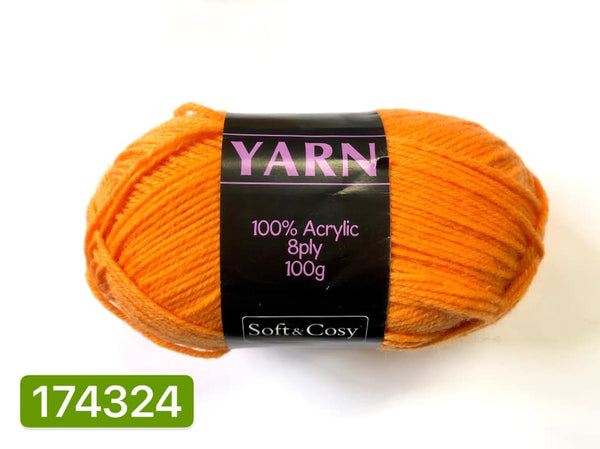 Knitting Yarn Bright Orange 100g