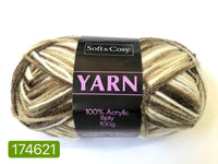 Knitting Yarn Multi Colour Brown White 100g