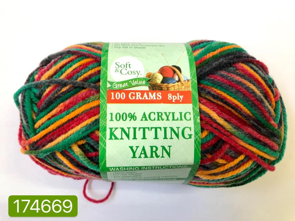 Knitting Yarn Multi Colour Grey Red Green Orange 100g