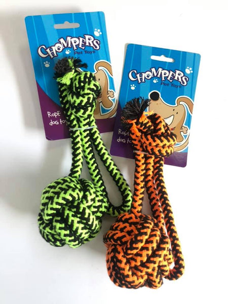 Dog Toy Rope Black / Fluro with Knot