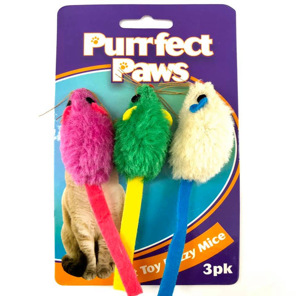 Cat Toy Fuzzy Mice 3pk