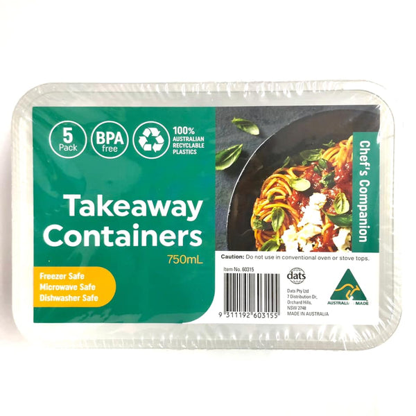 Takeaway Container Rect 750ml 5pk
