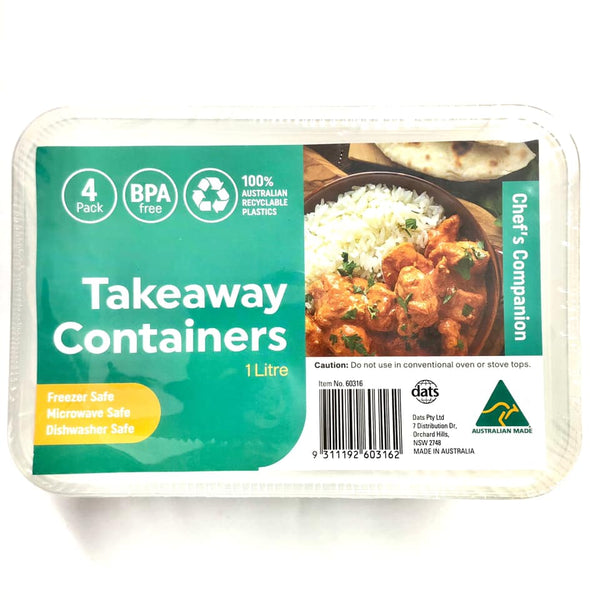 Takeaway Food Container Rect 1000ml 4pk