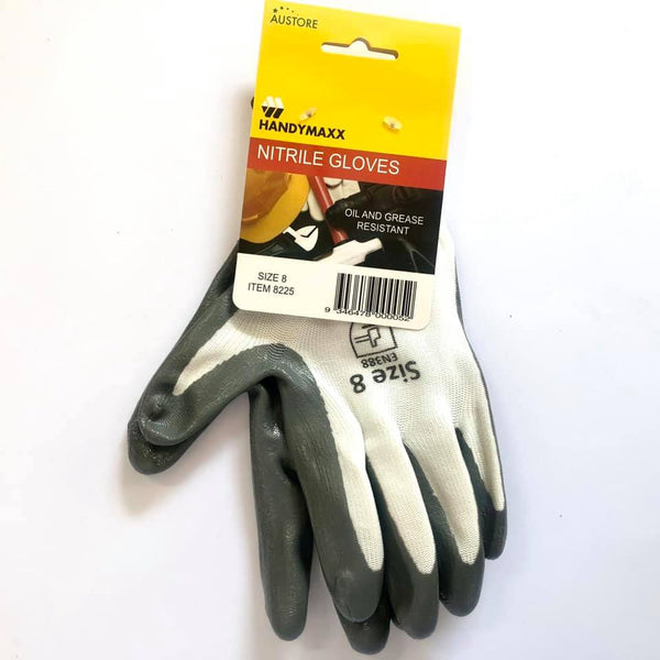 Work Gloves Nitrile Grey Size  8