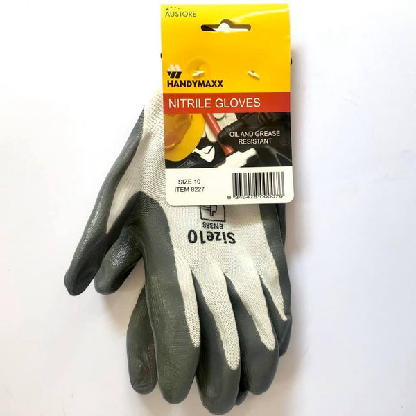 Work Gloves Nitrile Grey Size 10